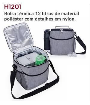 H1201 - Bolsa térmica 12 litros de material poliéster com detalhes em nylon.