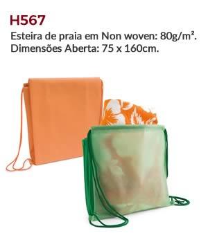 H567 - Esteira de praia em Non woven: 80g/m². Dimensões Aberta: 75 x 160cm.