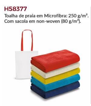 H58377 - Toalha de praia em Microfibra: 250 g/m². Com sacola em non-woven (80 g/m²).