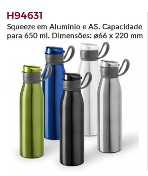 H94631 - Squeeze em Alumínio e AS. Capacidade para 650 ml. Dimensões: ø66 x 220 mm