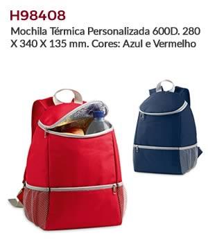 H98408 - Mochila Térmica Personalizada 600D. 280 X 340 X 135 mm. Cores: Azul e Vermelho
