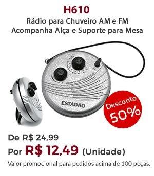 H610 - Rádio para Chuveiro AM e FM. Acompanha Alça e Suporte para Mesa - Por 12,49 unidade