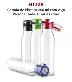 H1328 - Garrafa de Plástico 800 ml com Alça Personalizada. Diversas cores