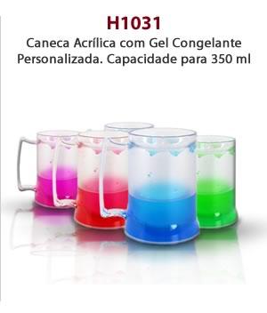 H1031 - Caneca Acrílica com Gel Congelante Personalizada. Capacidade para 350 ml