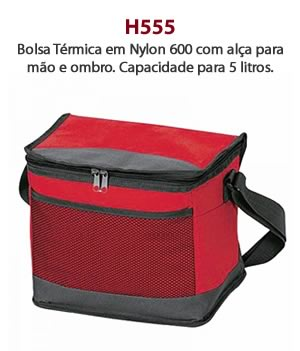 H555 - Bolsa Térmica em Nylon 600 com alça para mão e ombro. Capacidade para 5 litros.