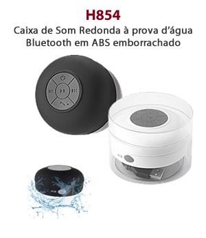 H854 - Caixa de Som Redonda à prova d'água Bluetooth em ABS emborrachado