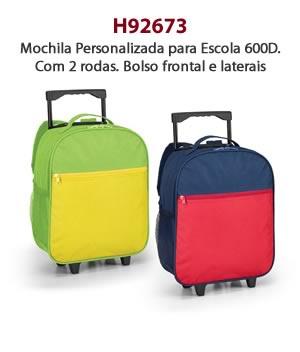 H92673 - Mochila Personalizada para Escola 600D. Com 2 rodas. Bolso frontal e laterais