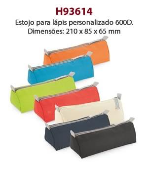 H93614 - Estojo para lápis personalizado 600D. Dimensões: 210 x 85 x 65 mm