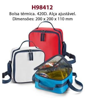 H98412 - Bolsa térmica. 420D. Alça ajustável. Dimensões: 200 x 200 x 110 mm