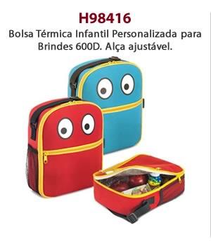 H98416 - Bolsa Térmica Infantil Personalizado para Brindes 600D. Alça ajustável.