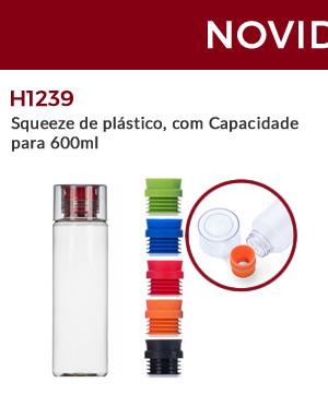 H1239 - Squeeze de plástico, com Capacidade para 600ml
