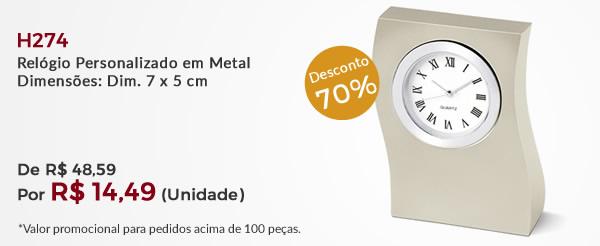 H274 - Relógio Personalizado em Metal Dimensões: Dim. 7 x 5 cm