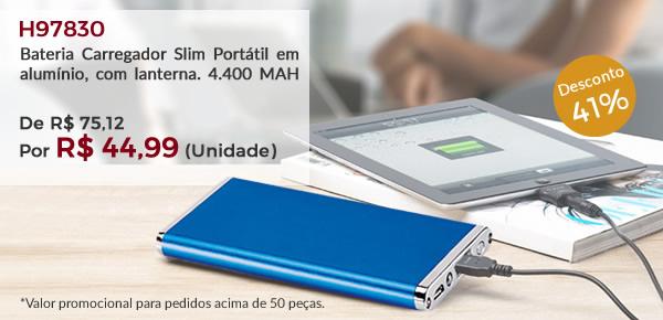 H97830 - Bateria Carregador Slim Portátil em alumínio, com lanterna. 4.400 MAH